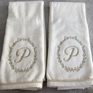 """Lot of two """"P"""" initial hand towel brand new"""